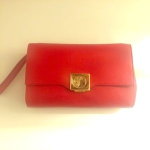 VERSACE Collection RED CLUTCH with Gold lock